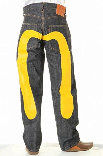 EVISU JEANS エヴィスジーンズ No2 2001 大黒 38~42in リラックス ストレート ホワイト ブラック 大黒カモメ (38in(ウエスト96cmヒップ113cm), イエロー)