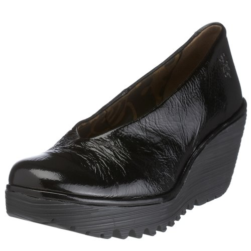 Fly London Women's Yaz Wedge Sandal Leather Patent