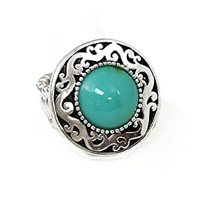 Silvertone Turquoise Stretch Fashion Ring