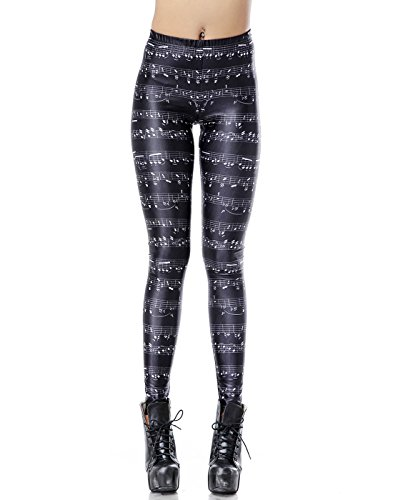 HDE Women's Funky Digital Print Design Graphic Stretch Footless Fashion Leggings (Classical Symphony, M/L)