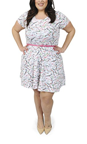 Plus Size Cotton Spandex Paint Splatter Short Sleeve Belted Flare Dress