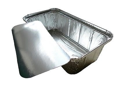 D&W Fine Pack Wilkinson A86 2 lb. Aluminum Foil Loaf/Bread Pan Tins w/Foil Board Lid (Pack of 50)