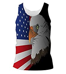 Snoogg Flag Background With Eagle Mens Casual Beach Fitness Vests Tank Tops Sleeveless T shirts