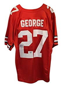Eddie George Autographed Jersey - University Red Nike - Autographed College Jerseys by Sports+Memorabilia
