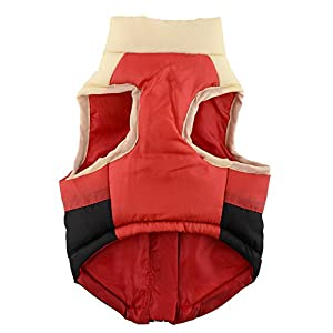 ZGY Warm Pet Puppy Dog Cat Winter Clothes Soft Padded Vest Harness Coat Jacket Apparel Size S/M/L (Red+White+Black, Large)