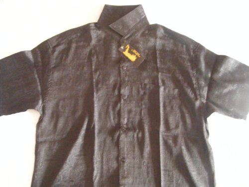 Men's Premium 100% Thai Silk Shirt- Midnight Black Mosaic Material (SIZE X-LARGE 42-44)