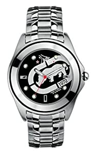 Marc Ecko E85016G2 Steel Gents Three hand black dial stamped with silver rhino on ice grey bracelet