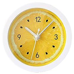 Grazing 5 Yellow Lemon Pattern Bright Color Non Ticking Sweep Silent Round Desk Travel Alarm Clock (Yellow Lemon)