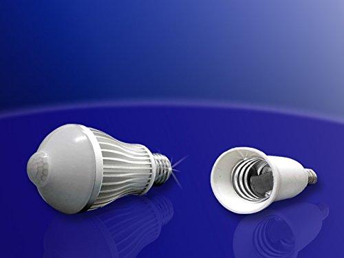 LED-Bewegungsmelder-Leuchte mit Adapter E14 auf E27 Lampensockel