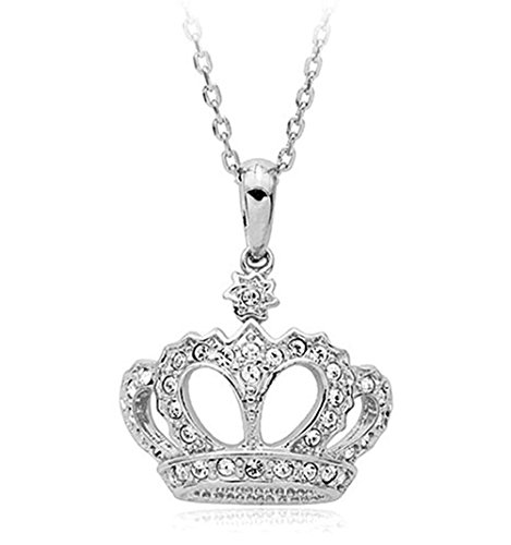 Clear Cubic Zirconia Crystal Ornate Crown Pendant Necklace Fashion Jewelry For Women (Platinum Plated)