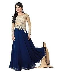 Clickedia Women's Georgette Semi Stitched Salwar Suit (45514 Madhu Blue Beige _Blue & Beige_)