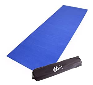 66Fit Yoga Mat & Carry Bag - Blue, 173 x 60 x 0.35 cm