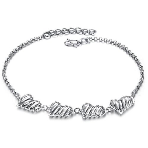 Opk Jewellery Fashion Adjustable Unisex Anklet Bracelet White Gold Plated Silver Hollow Love Hearts Link Foot Chain New Design Stylish Personality Gift Never Fade And Nickle Free 10.04 Inch Length 4g Weight