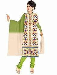 Aastha Creation Beige Embroidered Chanderi Cotton Dress Materials