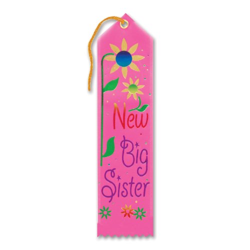 "New Big Sister Award Ribbon 2"" x 8"" Party Accessory - 1"