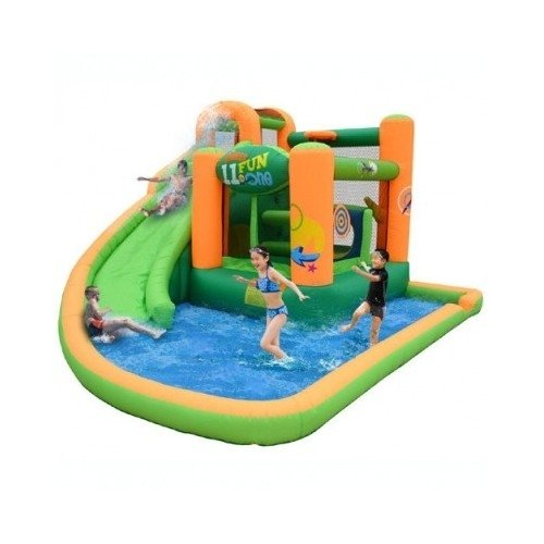 Blow Up Above Ground Pool Water Moon Walk Slide Obstacle Course Summer Play Tunnel Ball Pit Basketball Hoops Backyard Water Park Playground Set Kiddie Pool front-319006