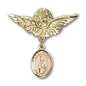 14K Gold Baby Badge with St. Alice Charm and Angel with Wings Badge Pin