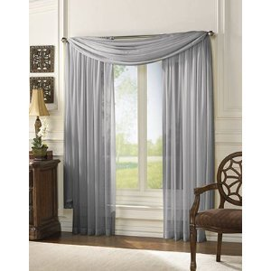 HLC.ME Voile Sheer Curtain Silver 55 x 216 in. Scarf at Sears.com