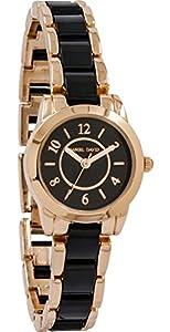 Daniel David Women's | Rose Gold Black Resin Bangle Bracelet Watch | DD13403