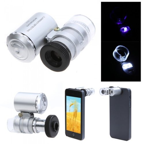 Wholesale Mini 60X Microscope Magnifier For Iphone 5 Currency Detecting With Led Light By Ahmet