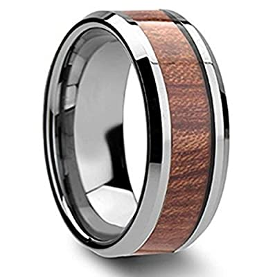 King Will Tungsten Ring High Polished Edge Wood Inlay Mens and Womens Band