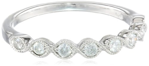 14k White Gold Milgrain Diamond Band (1/4 cttw, IJ Color, I2-I3 Clarity), Size 7
