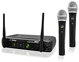PylePro PDWM3375 Premier Series Professional 2-Channel UHF Wireless Handheld Microphone System with Selectable Frequencies