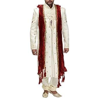Fattafatt mens silk sherwani size 46 for Mens silk shirts amazon