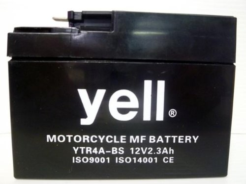 充電済 yellバイク用バッテリー YTR4A-BS 密閉型 メンテナンスフリー 1年保証 4A-BS