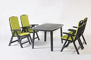 Gartenmöbel, Sitzgruppe, Gartengarnitur, Set Bali Anthrazit/Grun 5-teilig ***NEU***