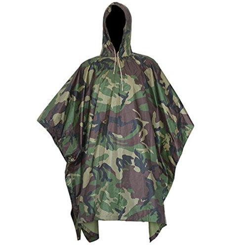 CAMTOA 3in1 Waterproof Rain Poncho,Multifunctional Military Camo Raincoat - Waterproof Tent Camping Rain Cover for Climbing Camping Hiking Jungle camouflage