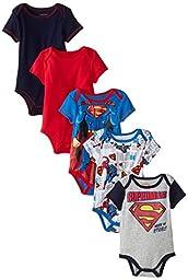 Warner Brothers Baby Baby-Boys Newborn Boy Superman 5 Pack Creeper, Blue, 3-6 Months