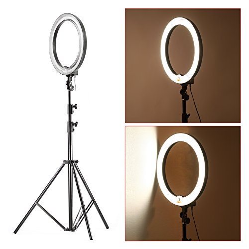 Neewer-18-Dimmable-75W600W-equivalent-Continous-Camera-Photo-Video-Ring-Light-Kit-includes-Fluorescent-75w-Ring-Light-PRO-9-Feet260cm-Heavy-Duty-Light-Stand-Bag-for-Ring-Light