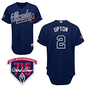 BJ Upton Atlanta Braves Alternate Navy Authentic Cool Base Jersey w  Hank Aaron 715th... by Majestic
