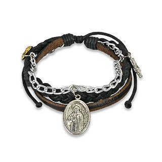 Multi-Strand Leather Braided Bracelet with St. Benedict Charm