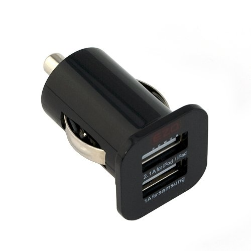 EZOPower Packed Black Dual USB Car Charger Power Adapter (1A/2.1A) - 3.1A 15W Manufacture For Samsung Galaxy Tab Tablet, Apple iPad, iPhone, Motorola, HTC, Nokia