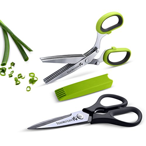 5 Blade Herb Scissors with Cleaning Cover Plus Heavy Duty Kitchen Shears - Shear Genius Scissor Set Features Stainless Steel