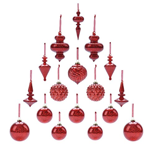 Youseexmas Mouth Blown Glass Christmas Ornaments Pack of 17 (red)