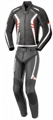 Büse Jerez Damen Lederkombi 2tlg., Farbe schwarz-rot-weiss, Größe D40