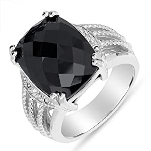 Amazing Women's Black Onyx Fashion Ring with Diamond Accent in Sterling Silver, Size 7
