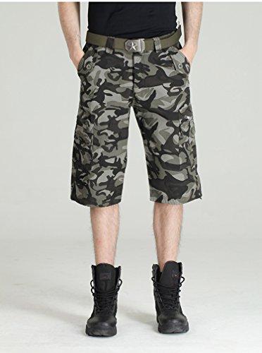 GG Apparecchio per esterni camuffamento pantaloni. tasca ritagliata jeans. shorts uomo , dark camouflage , 38