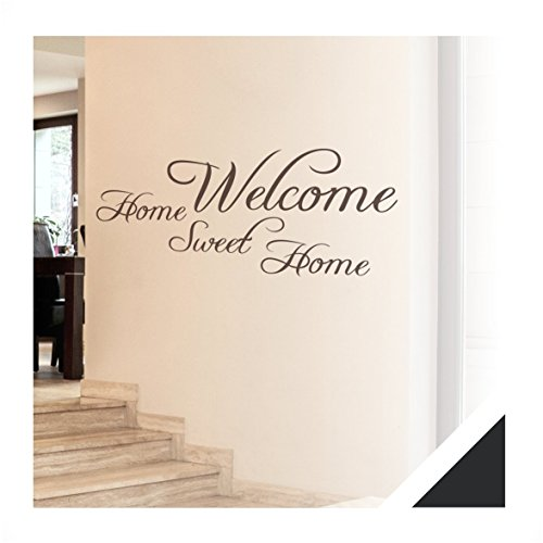 wandtattoo zitat worte welcome inkl rakel wrt03 schwarz. Black Bedroom Furniture Sets. Home Design Ideas