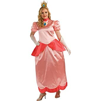 Rubies Costumes Women's Super Mario Bros. - Deluxe Princess Peach Adult Costume One-Size (Plus) Pink
