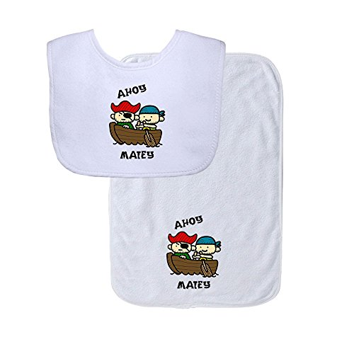 Two Baby Pirate Sailors Ahoy Matey Soft Terry Cotton Baby Bib & Burp Cloth Set