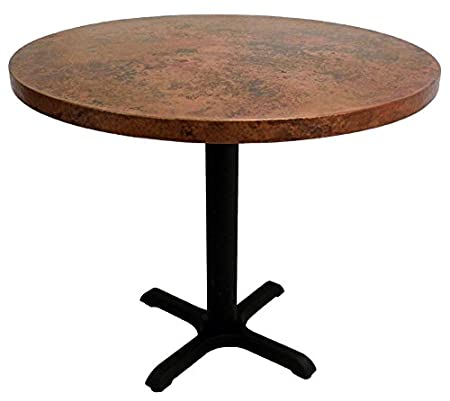 "24"" Round Copper Dining Table with Cast Iron X-Base - Bar Top Height (Natural)"
