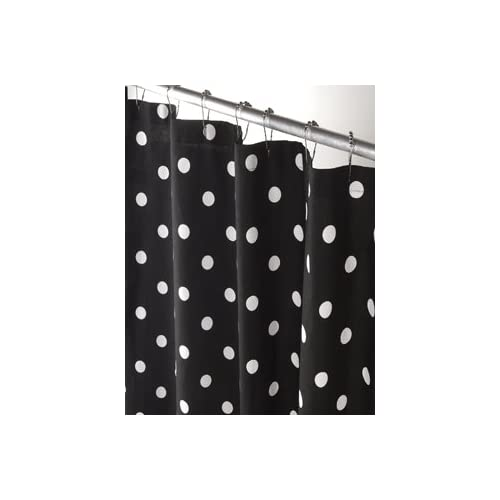 black and white polka dot shower curtain.