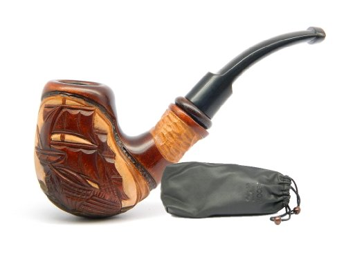 "Tobacco Smoking Pipe "" Flying Dutchman Ship "" Hand Carved of Pear wood, Great Collectible + Gift Pouch"