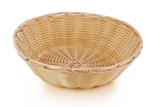 New Star Foodservice 44201 Polypropylene Round Hand Woven Food Serving Baskets, 9-inch By 2.75-inch, Set of 12