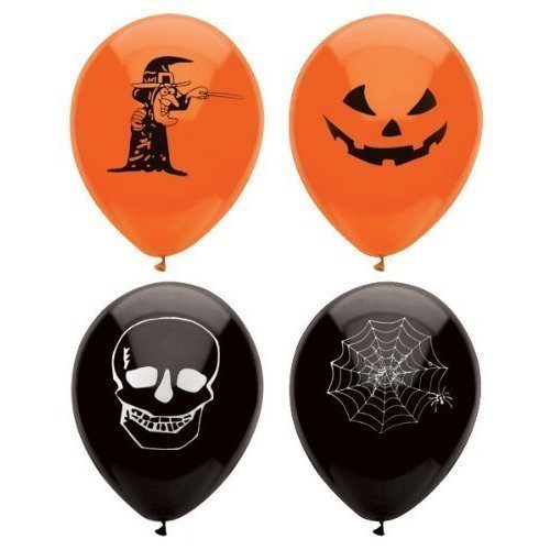 15 Assorted Halloween Balloons / 23cm / Halloween Trick Or Treat Scary Party Fun by Henbrandt