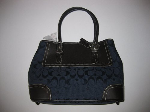 Coach Signature Carryall Handbag - MahoganyNavy Blue